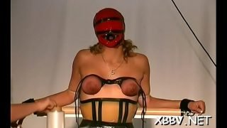 Chubby female fastened up and forced to endure sadomasochism xxx