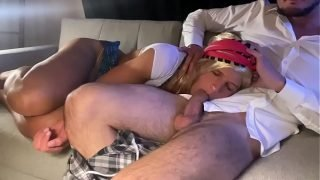 Daughter is exploited by father and forced to give a blowjob when she sleeps
