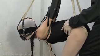 Encased in pantyhose in a armbinder, gagged and forced to cum