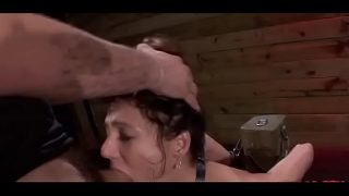 Stunning hottie gets forced to give a deepthroat blowjob